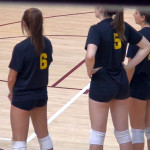candid volleyball spandex shorts