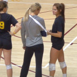 candid college volleyball girls in ponytails and spandex