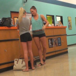 2 gym babes in short shorts