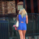 hot blonde girl in short blue dress