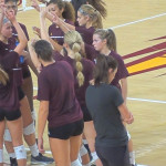 College volleyball girls in spandex shorts