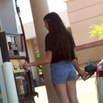 Brunette girl in denim shorts pumping ass