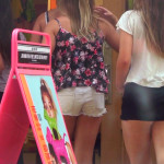 Group of hot teen girls shopping