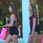Two teen girls in tiny shorts
