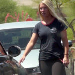 blonde teen in yoga pants