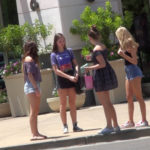 Group of cute teen girls in shorts