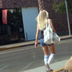 SUper hot blonde bartender in knee high socks