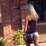 Hot blonde with great ass in denim shorts
