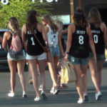 Group of sexy young teen girls with nice legs in short shorts