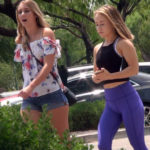 Sporty teen girl and hot blonde in denim shorts