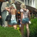 Blonde teen with bubble butt in tiny jean shorts